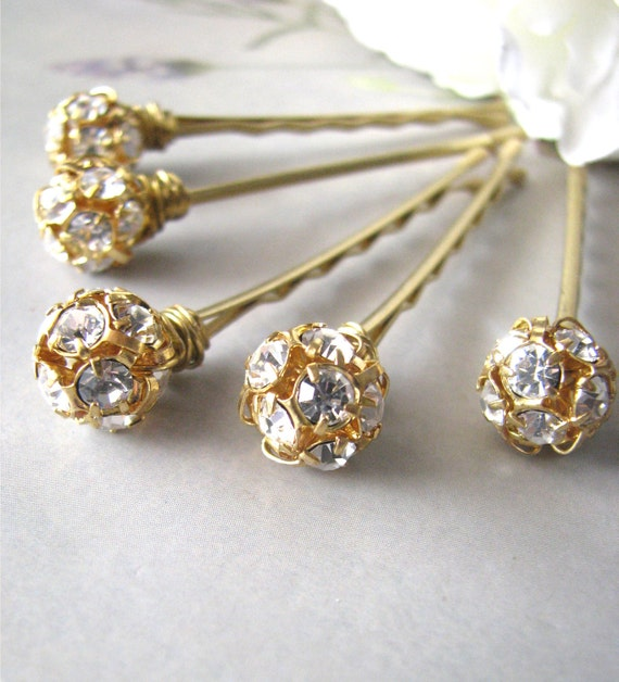 Rhinestone Hair Pins Set, Czech Crystal and Gold Glitz and Shimmer
