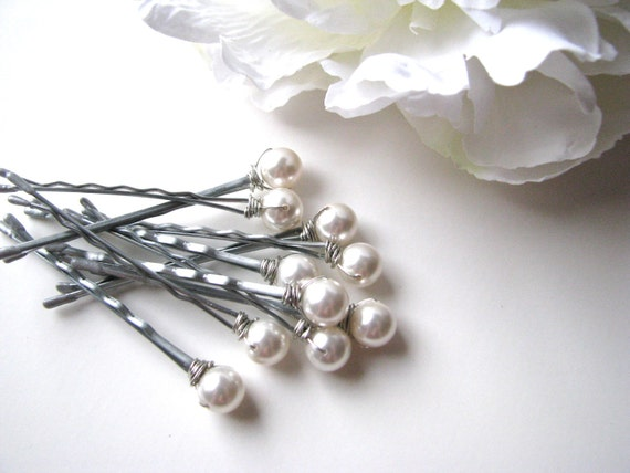 White Hair Pin Pearl Set of 10, 8mm Swarovski
