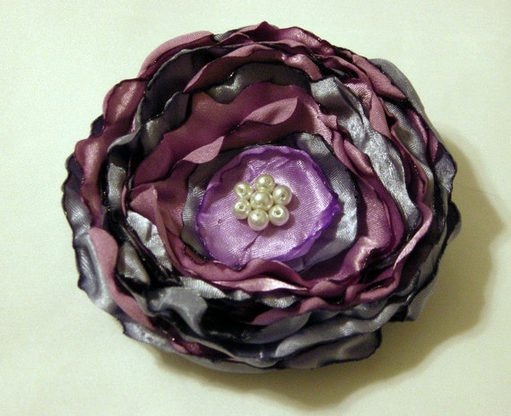 Shades of Purple Rose Brooch