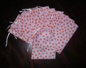 Flower gift pouches Cotton drawstring decorator fabric 4 x 6 bags one dozen