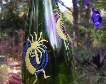 Kokopelli wine bottle windchime garden suncatcher porch deck