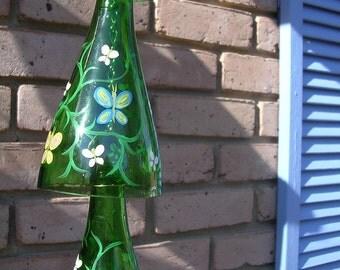 handpainted garden yard art glass  wall hanging bottle tree indoor outdoor recycled wine bottle windchime