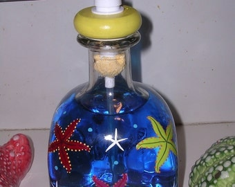 Under the sea little mermaid Starfish glass bottle art Patron tequila lotion bubble bath soap dispenser