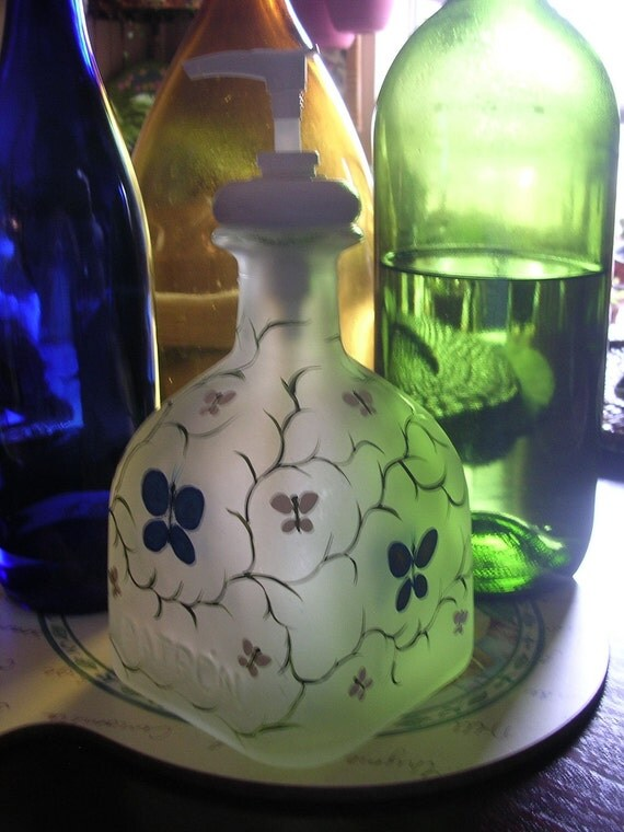 lotion soap dispenser Patron hand painted recycled repurposed Tequila bottle