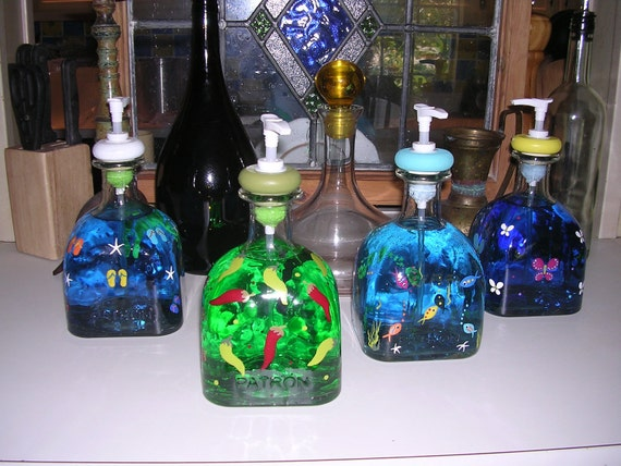 Recycled handpainted glass bottle art Patron tequila  lotion soap dispenser