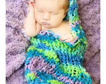 Bright Chunky Newborn Cocoon with Hood for Baby- Great Newborn Photo Prop- New Colors- Newborn Props - Baby Cocoon, Pod, Nest, Womb, Wrap