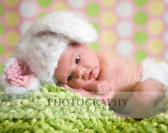 White Bunny Hat and Diaper Cover Set with Detachable cotton tail in Pink and White or Brown for Newborn to Toddler - Great Photo Prop
