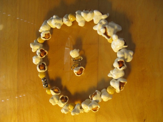 SALE Popcorn Clay Necklace plus Earclips