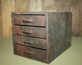 Small Vintage Metal Machinist Cabinet
