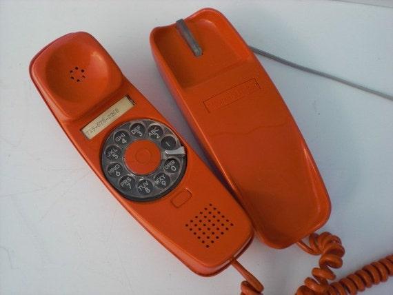 Vintage Orange Rotary Phone