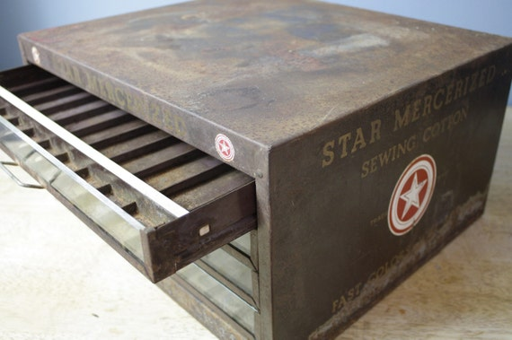 Antique Metal Thread Cabinet with Glass Front Drawers by American Thread Company