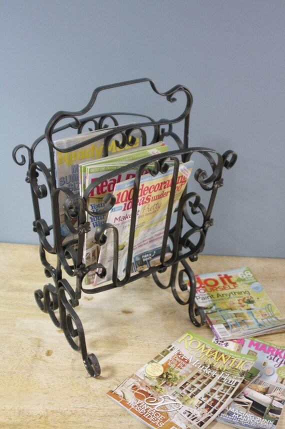 Vintage Wrought Iron Magazine Rack