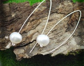 Suspended Mod Pearls - Linear silver hook earrings-FREE SHIPPING