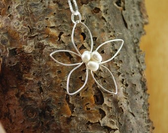 Flowergirl necklace, Sterling silver lotus blossom necklace, Flower girls necklace, Bridal jewelry, Bridal necklace