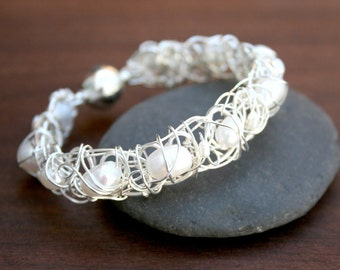 Pearl cuff bracelet - Silver wire wrapped cuff bracelet with freshwater pearls - a statement piece for the modern bride