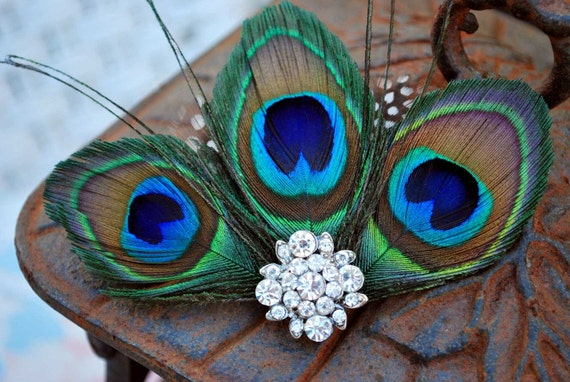 Luxe Peacock Feather fascinator -Vintage glam