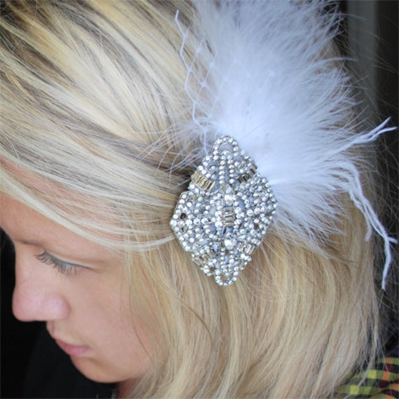 Tania - Art Deco Bridal hair piece - Veil clip- Vintage inspired rhinestone hairclip