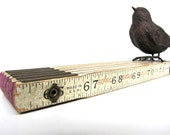 Wood Folding Ruler Vintage White Chippy AllieEtCie