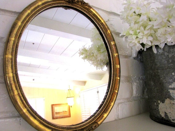 Antique Mirror Gold Wood Gesso Oval from AllieEtCie