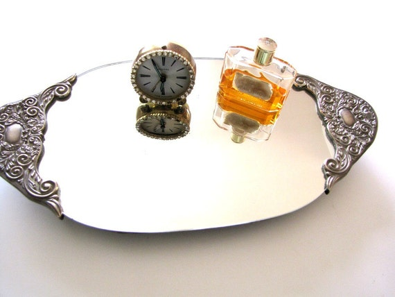 Art  Nouveau Mirror Vintage Vanity Tray from AllieEtCie