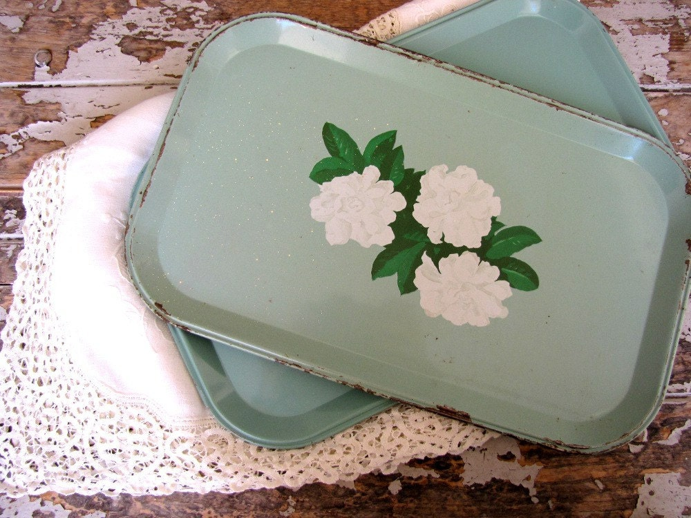 Tin Trays Vintage Serving Trays Vintage Snack Trays Shabby