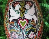 Wedding gift Lovely Birds- goose egg pysanka
