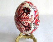 Red and Black designs pysanka Ukrainian Easter egg, decorated chicken egg shell