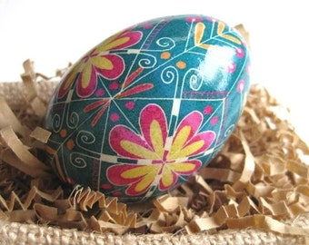 Turquoise Ukrainian Easter egg pysanka hand painted chicken egg shell