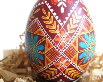Red Wine deep red with turquoise pysanka makes super awesome gift for mom who loves Easter and Christmas and goes nuts with decoration
