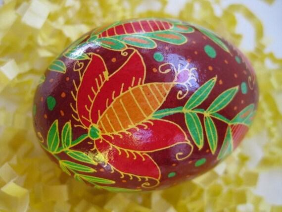 Pysanka egg batik egg on chicken Ukrainian Easter egg hand painted egg