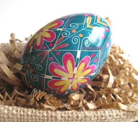 Blue Green  Turqhouse Egg  batik painted egg, ukrainian Easter egg pysanka, hand painted chicken egg shell