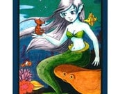 Art Print - Under The Ocean - Anime Mermaid - Fine Print - 8.5 by 11 inches