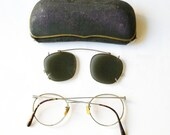 vintage glasses/spectacles with extra cover for the sun with case