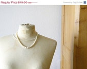 SALE vintage french faux pearls with diamante clasp and safety chain