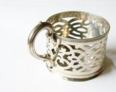 antique french cup holder silver plated glass cup cover