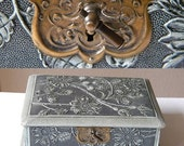 vintage french jewelry box with floral decoration