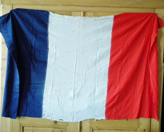 vintage french flag made to support their country and soldiers