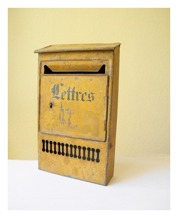 vintage letter box french metal post box