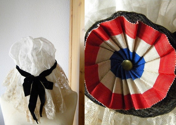 french antique bonnet lace coiffe with cocarde french ribbon from 1870