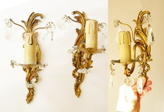 2 french light sconces light fixtures with crystals