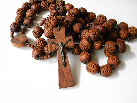 huge vintage rosary made with wooden beads french rosary