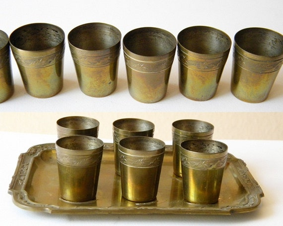 6 vintage cups and tray tiny drinking cups