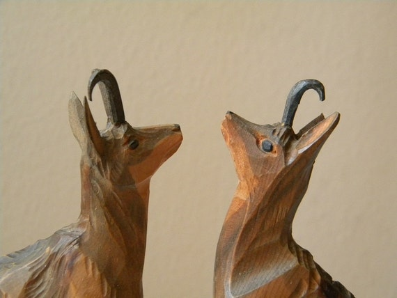 vintage mountain goats 2 wooden carved chamois