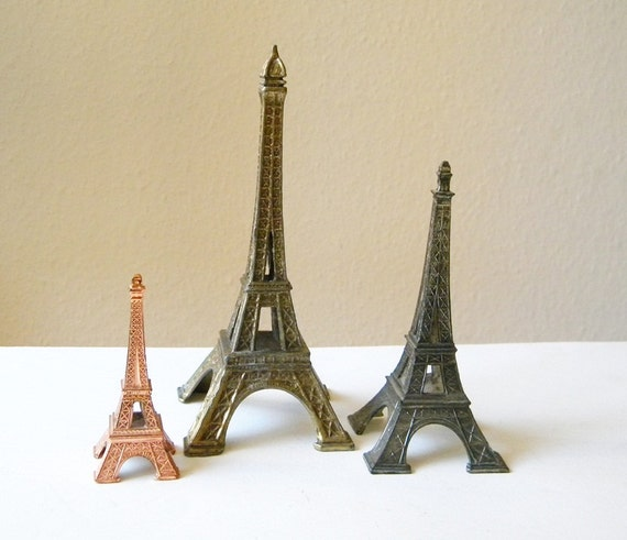 vintage eiffel towers lot 3 french souvenirs
