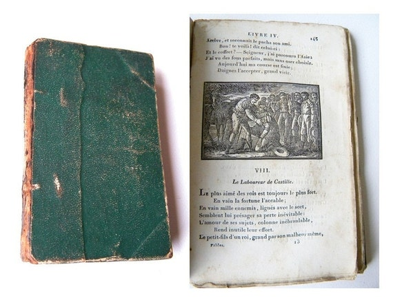 1800s antique french fables book