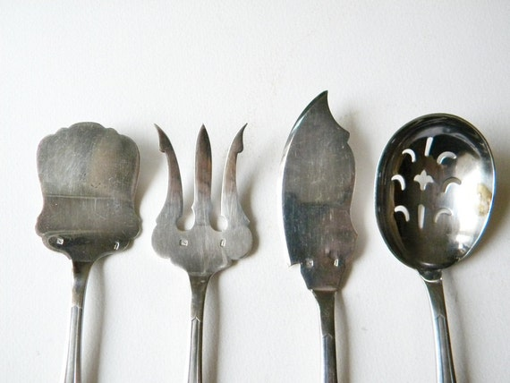 vintage french serving utensils silver plated