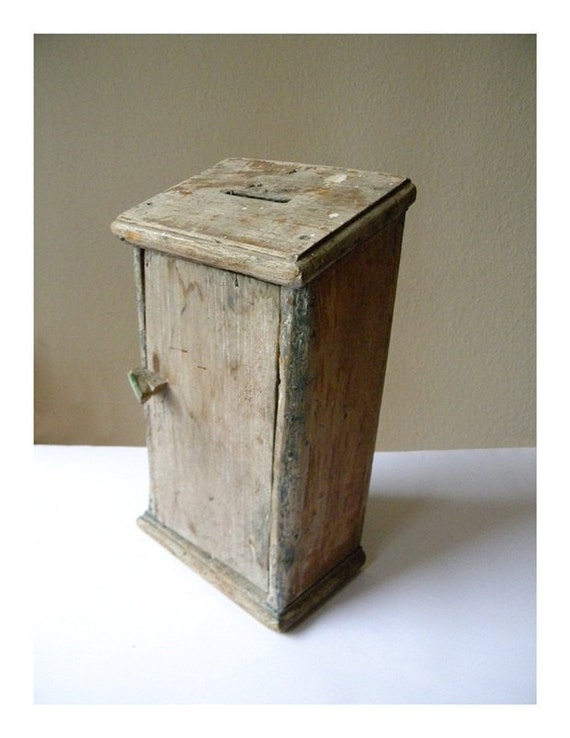 french antique box, wooden money box, church collection box