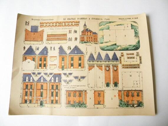 antique french castle print construction print d'epinal imagerie