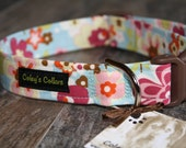 "Floral Dog Collar, Custom Dog Collar, Girl Dog Collar, Boy Dog Collar, Modern Dog Collar, Vintage Inspired Dog Collar, ""The Lilly"""
