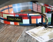 "Dog Collar Preppy Nautical, Plaid Dog Collar, Dog Collar, Dog Collars, Boy Dog Collar, Girl Dog Collar, Dog Collar, ""The Yacht Club"""